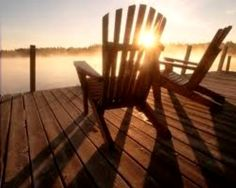 My chairs overlooking my river...with a loved one, a glass of wine and Sammy Lou kitty luv sunnin' by my side...