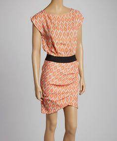 Look what I found on #zulily! Orange Abstract Ruched Boatneck Dress #zulilyfinds