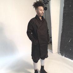 M O N O___ backstage shot featuring @wavyjonez in @h.o.n.l #unconventional #shoot #monochrome #menswear #contemporary #madebyhand