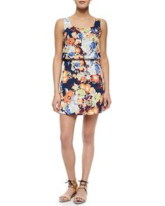 T9FGS Splendid Spring Blooms Sleeveless Blouson Dress
