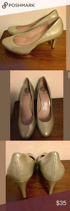 Vince Camuto Zella golden Pumps Size 10 leather Vince camuto zella Pumps Size 10 Soft gold color Patent leather  In good condition Vince Camuto Shoes Heels