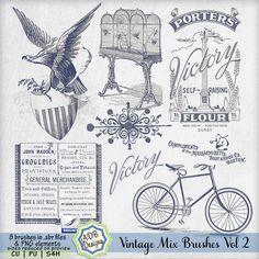 Vintage Mix Brushes Vol 2   CU/Commercial Use #digital #scrapbook design tools at CUDigitals.com #digitalscrapbooking