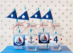 Nautical - Water Bottle Labels - Birthday Boy - Custom Printable - psDre Party Printables. €4,50, via Etsy.