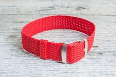 Perlón rojo correa 18mm correa de nylon por StrapsBracelets en Etsy