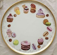 Pottery Painting, Ceramic Painting, Ceramic Art, Decoupage Plates, Cake Plates, Hand Painted Plates, Painted Cakes, Sweets Art, China Painting