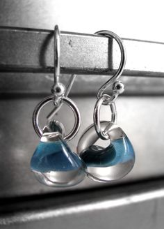 Blue Water Drop Earrings Petite Clear Glass Earrings Sterling Silver, Lampwork Glass Bead Earrings, Nautical Modern Jewelry