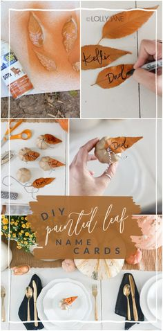 Make guests feel welcome with festive, personalized place cards. Super easy to make and so cute! #thanksgiving #fallparty #placecards #namecards #diy #falldecor #falldecorations