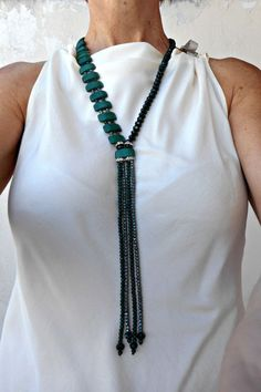 Green stone necklace Natural stone jewelry Beaded tassel necklace Green necklace for women Semi precious stone jewelry Howlite jewelry Beaded Tassel Necklace, Diy Necklace, Beaded Jewelry, Jewelry Necklaces, Necklace Ideas, Jewelry Ideas, Diy Jewelry, Jewelry Findings, Gemstone Necklace