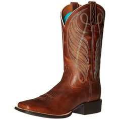 Ariat Women's Round Up Wide Square Toe Western Cowboy Boot (£110) ❤ liked on Polyvore featuring shoes, boots, brown cowboy boots, western cowgirl boots, wide mid calf boots, western cowboy boots and brown cowgirl boots