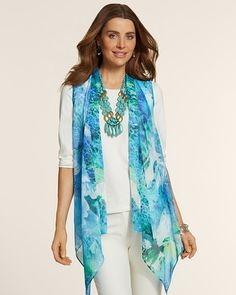 Chico's Floral Drape Front Vest #chicos #chicossweeps