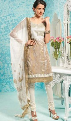 G3 Fashions Off Beige Cotton Party Wear Designer Embroidered Salwar Suit  Product Code : G3-LSA104860 Price : INR RS 3078