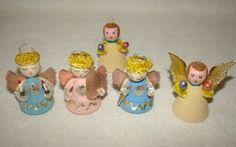 Vintage Christmas Angels Spun Cotton Cardboard Putz (4pcs + 1 Free)Japan+Germany   eBay