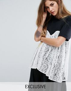 Reclaimed Vintage T-Shirt With Lace Overlay - Black