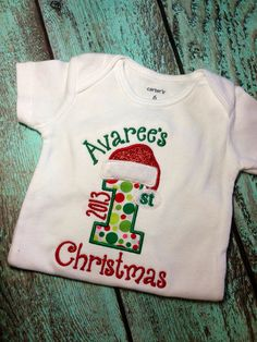 Santa Hat First Christmas Applique onesie or t-shirt on Etsy, $21.00
