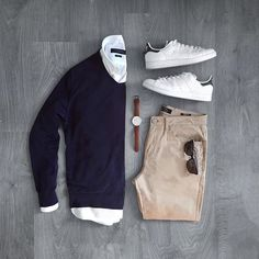 Casual Sunday's. . . . Sweater: @massimodutti Shirt: @zara Sneakers: @adidasoriginals Pants: @bershkacollection Sunglasses: @tomtailor_official
