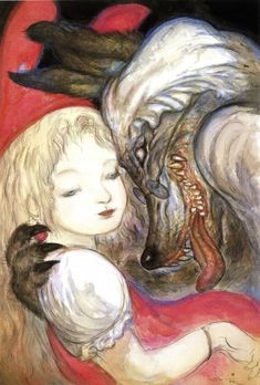 Amano Yoshitaka, Red Riding Hood, The Virgin (Artbook), Big Bad Wolf, Red Riding Hood (Character), Licking