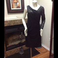 Gianni Bini Dress Sexy! Lace detail on the left sleeve. Stretchy. Side zipper. Color: black Gianni Bini Dresses Midi