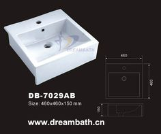 Product Name:Square Basin   Model No.: DB-7029AB Dimension: 460X460X150mm  (1 inch = 25.4 mm)  Volume: 0.046CBM  Gross Weight: 13KGS  (1 KG ≈ 2.2 LBS) Basin shape: Square