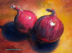 """""""Two Red Onions"""" watercolor $99 class demo sale, painting by artist Diane Morgan"""