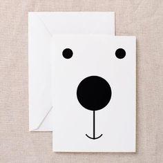 Minimalist Polar Bear Face Greeting Cards