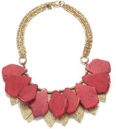 ShopStyle: Sequin Red Gold Leaf Necklace