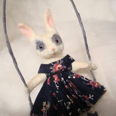 Spring time Bunny on a swing spun cotton vintage craft ornament by jejeMae