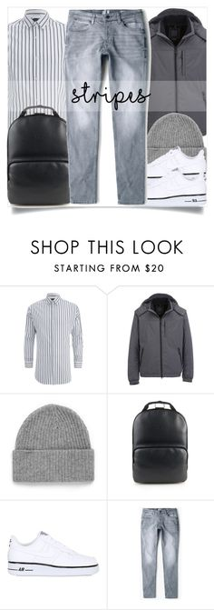 """""""Mens Wear"""" by madeinmalaysia ❤ liked on Polyvore featuring Scotch & Soda, Geox, Topman, Hood by Air, NIKE, MANGO MAN, men's fashion, menswear and stripes"""