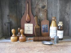The biscuit cutters and rolling pin are real Shaker antiques, I gussied up some of the others to have the same era feel to them.