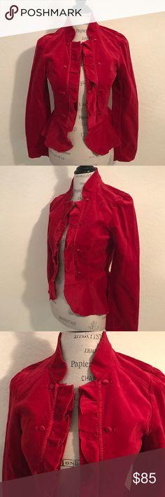 Gorgeous Ruby Red Ruffled Peplum Velvet Jacket Extra Button included. Gorgeous Size 8. Style # 570095119. MSRP: $138 White House Black Market Jackets & Coats Blazers