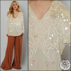 Vintage 80s Ivory Sequin Paillette Deco Top Silk Tunic Deep V Beaded Shirt | eBay