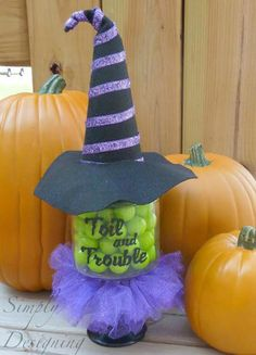 Witch candy jar tutorial - it has a cute little tulle tutu!