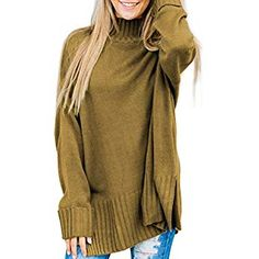Dokotoo Womens Pullover Loose Winter Fall Warm Basic Solid Loose Oversized  Long Cuffed Sleeve Casual High Neck Knit Sweater Pullover Top Large 890c5d565