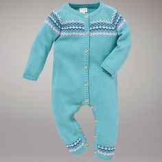 John Lewis Baby Fair Isle Knitted All In One, Green/Multi Online at johnlewis.com - so cute!