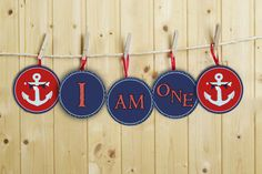 """INSTANT DOWNLOAD Nautical Birthday """"I am one"""" high chair banner Diy Printable on Etsy, $6.00"""