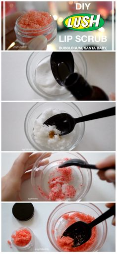 DIY Lush Lip Scrub!! In Bubblegum, Santa Baby, Popcorn, Mint Julip and more! Easy and simple plus it doesnt cost you 10 dollars! Uses same ingredients as LUSH. Click to learn how Diy Lip Sugar Scrub, Lip Scrub Lush, Lip Scrub Homemade, Lip Scrubs, Sugar Scrubs, Body Scrubs, Diy Lip Balm, Lush Cosmetics, Homemade Cosmetics