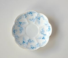Rare Foley Turquoise Blue China Saucer with scalloped gilt edge, made by English pottery, Wileman & Co - the stamp indicates that that it was made between English Pottery, Blue China, Vintage China, Decorative Plates, Vintage Items, Stamp, Turquoise, Pattern, Etsy