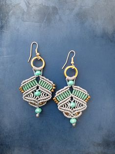 Macrame earrings, grey and mint colors, hippie chic