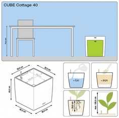 CUBE with irrigation system: less frequent watering and better plant growth! Plantation, Winter Garden, High Gloss, Bar Chart, Floor Plans, Diagram, Kit, Cubes, Cottage