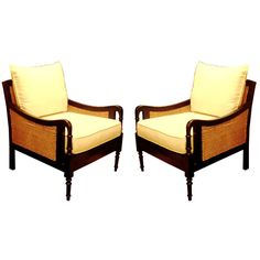 One Pair British Colonial Style Club Chairs And Settee. | From a unique collection of antique and modern club chairs at http://www.1stdibs.com/furniture/seating/club-chairs/