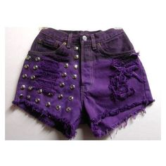 25 Inch Waist Purple Studded Levis Cut Off Denim Shorts ❤ liked on Polyvore featuring shorts, vintage studded shorts, short jean shorts, denim cutoff shorts, levi shorts and vintage shorts