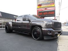 2015 GMC SLT 3500 Dually Custom SEMA Build with only 625 miles. This truck is very well know and has been built with blood, sweat, tears, and passion by many hands. Many pictures available @ to see the build from the beginning. Dodge Diesel Trucks, Custom Chevy Trucks, Dually Trucks, Chevy Pickup Trucks, Ford Trucks, Chevy 4x4, Powerstroke Diesel, Chevy Duramax, Ford Diesel