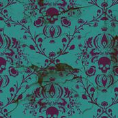 Purple on Teal Damask Skull Distressed - elizabeth - Spoonflower (wallpaper and fabric)