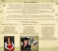 Locations for your Senior Portraits such as the beach or park are also available. Package details and prices are displayed in this photo.