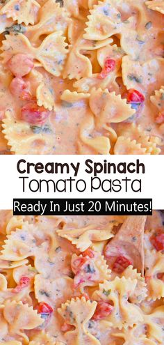 This ultra creamy homemade pasta dish comes together in just 20 minutes and is an easy vegan dinner recipe #pasta #dinner #recipe #tomato #spinach #vegan #vegandinner #easy
