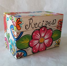 Recipe box, hand painted recipe box, grandmother gift, gift for mom, keepsake box, kitchen decor, recipe holder, memory box, Christmas gift by brilliantexpressions on Etsy