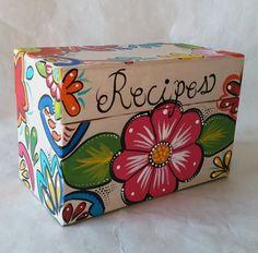 Recipe box, hand painted recipe box, grandmother gift, gift for mom, keepsake box, kitchen decor, recipe holder, memory box, Christmas gift by brilliantexpressions on Etsy