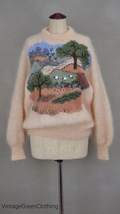1980's knitwear ~ 80's Mohair, oversized, picture knit sweater from clothing brand 'Brigid Foley, Made in England'. 80's jumper / pullover