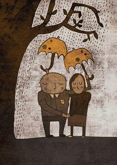 ALWAYS TOGETHER art print // brown and yellow couple illustration // love rain tree Umbrella Art, Under My Umbrella, Yellow Umbrella, Couple Illustration, Illustration Art, Rain Art, Love Rain, Illustrations, Retro Design