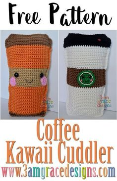 Fall has arrived! We love exchanging out our flip flops for Converse and hoodies. Lets not forget its also Pumpkin Spice everything season. From pumpkin butter to the sacred Pumpkin Spice Latte! To celebrate weve created a Coffee Kawaii Cuddler. Kawaii Crochet, Crochet Food, Cute Crochet, Crochet Crafts, Crochet Yarn, Crochet Projects, Crochet Flowers, Crochet Ideas, Crochet Bee