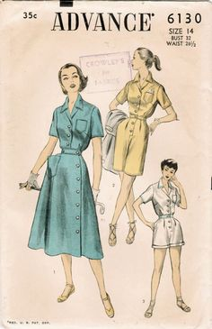 Vintage 1950s dress and playsuit sewing pattern